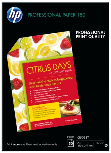 HP Professional Glossy Inkjet printing paper A4 (210x297 mm) Gloss White