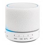 Manhattan LED Bluetooth Speaker (promo), Multicoloured, 5 hour Playback time, Range 10m, microSD card reader (32GB), Aux 3.5mm connector, Output 3W, USB-A charging cable included (5V charging), 1200mAH battery, Bluetooth v5, White, Boxed