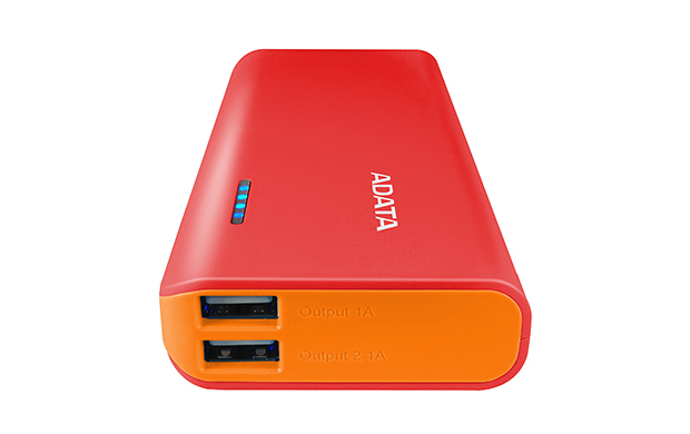 Pt100 - Power Bank - 10000 Mah - 2.1 A - 2 Output Connectors (USB) - On Cable: Micro-USB - Red