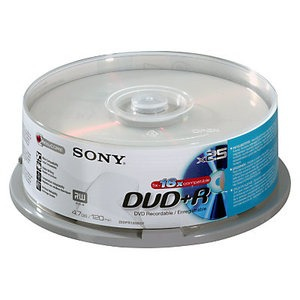 Sony DVD+R 16x, 25 4.7GB DVD+R 25pc(s)