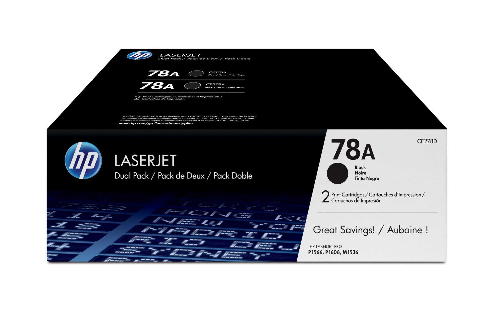 HP CE278AD (78A) Toner black, 2.1K pages @ 5% coverage, Pack qty 2