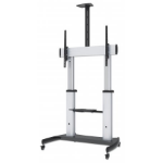 "Manhattan TV & Monitor Mount, Trolley Stand, 1 screen, Screen Sizes: 60-100"", Silver/Black, VESA 200x200 to 800x600mm, Max 100kg, Height adjustable 1200 to 1685mm, Camera and AV shelves, Aluminium, LFD, Lifetime Warranty"
