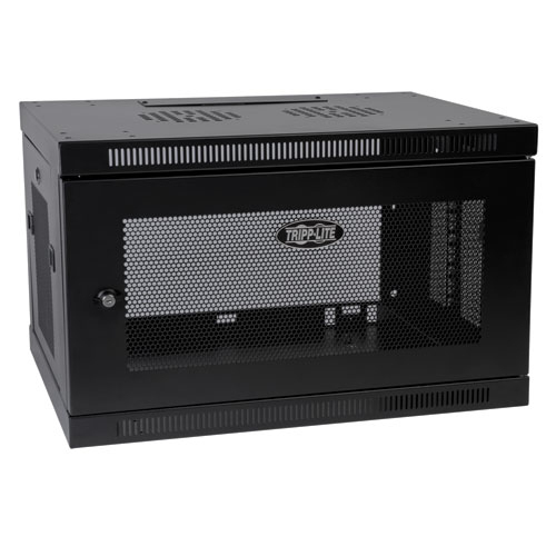 Tripp Lite SmartRack 6U Wall-Mount Standard-Depth Rack Enclosure Cabinet, Black