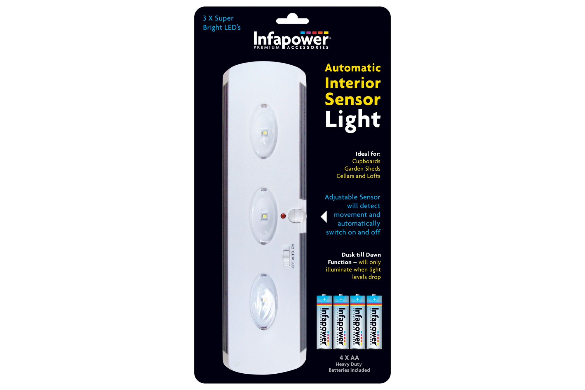 INFAPOWER Automatic Interior Sensor Light inc 4x AA Batteries
