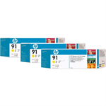 HP C9485A (91) Ink cartridge yellow, 775ml, Pack qty 3
