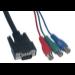 MCL Cable Adapteur VGA / YUV 0,2 m VGA (D-Sub) 3 x RCA Negro