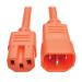 Tripp Lite Heavy-Duty Computer Power Cord, 15A, 14 AWG (IEC-320-C14 to IEC-320-C15), Orange, 0.61 m
