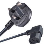 Connekt Gear 2M UK Plug to Right Angled C13 Mains Power Cable Black