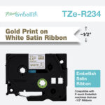 Brother TZE-R234 P-Touch Ribbon, 12mm x 4m