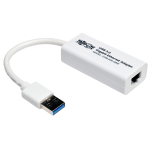 Tripp Lite USB 3.0 SuperSpeed to Gigabit Ethernet NIC Network Adapter, 10/100/1000 Mbps, White