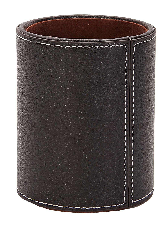 Osco Faux Leather Pen Pot Brown