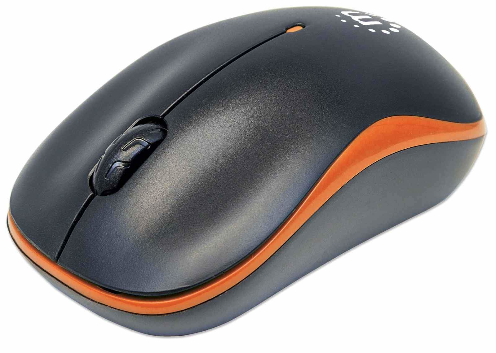 Manhattan Success Wireless Mouse (Promo), Black/Orange, 1000dpi, 2.4Ghz (up to 10m), USB, Optical, Three Button with Scroll Wheel, USB micro receiver, AA battery (included), Low friction base, Box