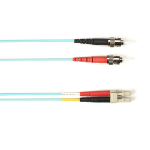 "Black Box FOCMR10-010M-STLC-AQ fiber optic cable 393.7"" (10 m) ST LC OFNR OM3 Aqua color"