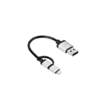 JustMobile AluCable Duo mini 0.1m USB A Micro-USB B/Lightning Aluminium, Black mobile phone cable