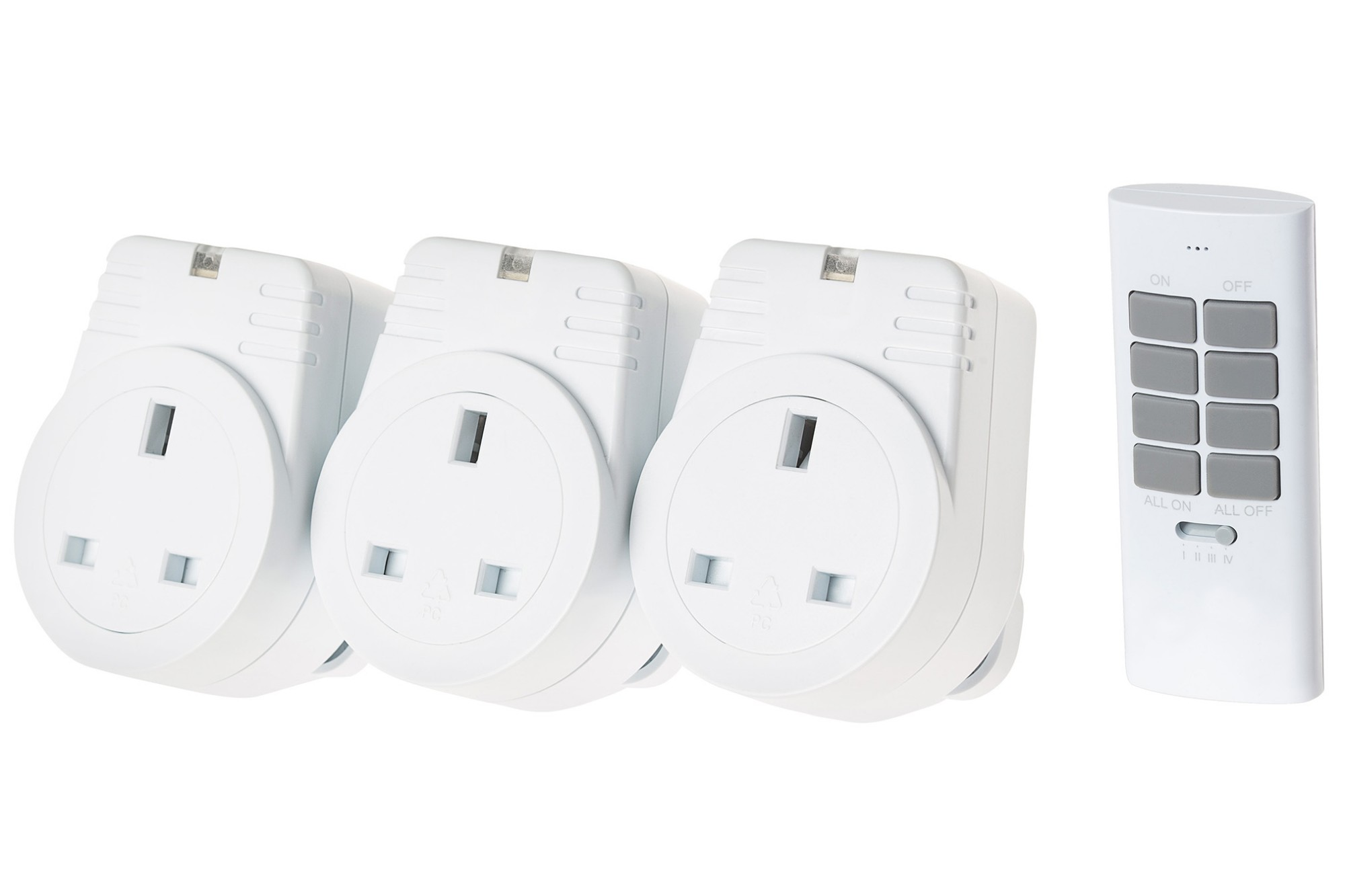 MAPLIN ORB RF Remote Controlled Mains Plug Sockets Set Version S2 - 3 Pack, White