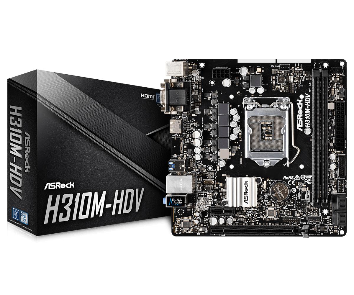 Asrock H310M-HDV Intel® H310 LGA 1151 (Socket H4) Micro ATX