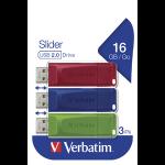 Verbatim Slider - USB Drive - 3x16 GB - Blue/Red/Green