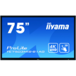 "iiyama ProLite TE7503MIS-B1AG touch screen monitor 189.2 cm (74.5"") 3840 x 2160 pixels Black Multi-touch Multi-user"