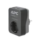 APC PME1WU2B-GR Tussenstekker met overspanningsbeveiliging 3680W 1x stopcontact + 2x USB lader