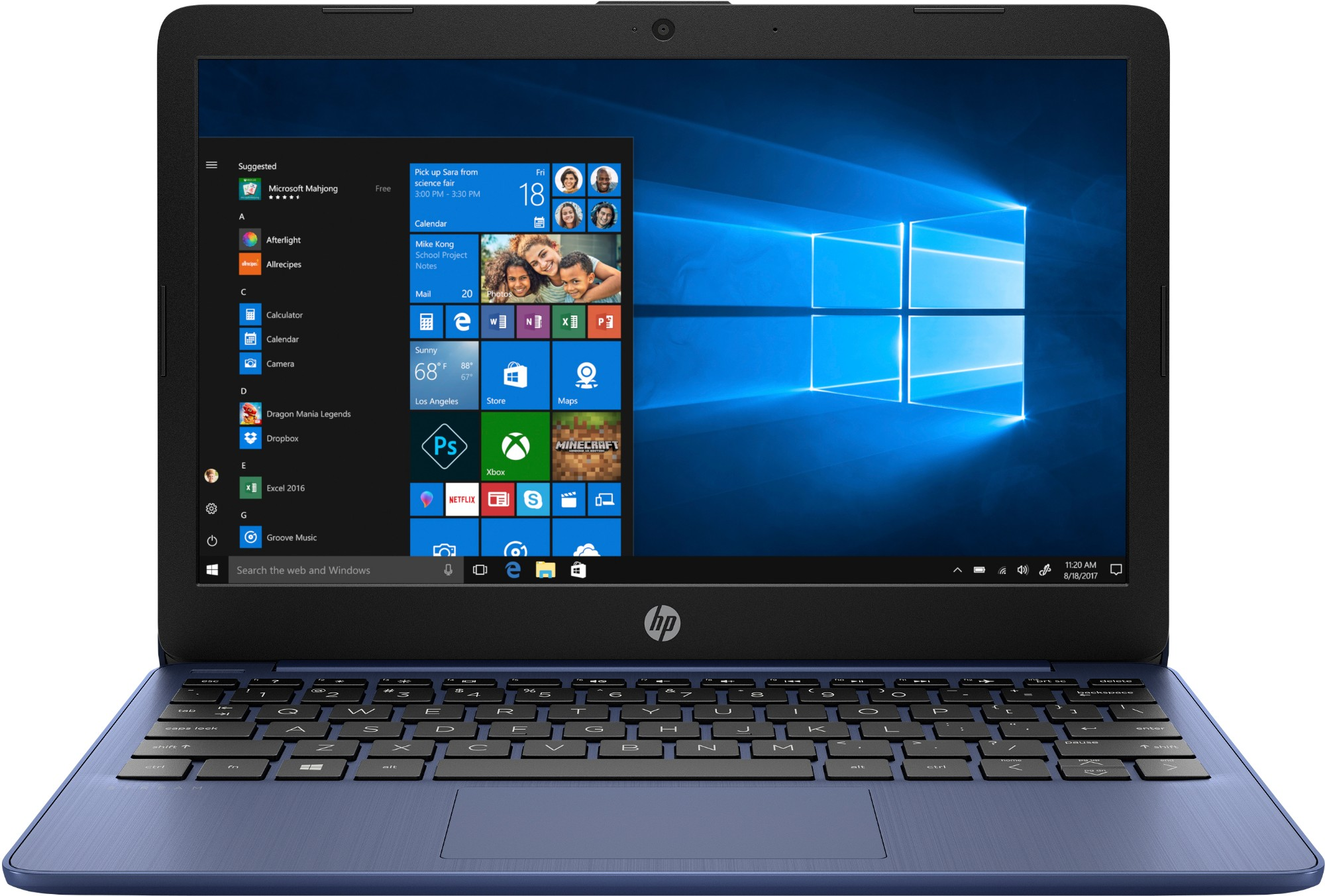 "HP Stream 11-ak0001na Blue Notebook 29.5 cm (11.6"") 1366 x 768 pixels Intel® Celeron® N4000 2 GB DDR4-SDRAM 32 GB eMMC"