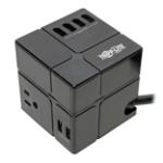 """Tripp Lite TLP366CUBEUSBB surge protector 3 AC outlet(s) 12- V 72"""" (1.83 m) Black"""