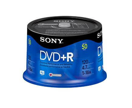 Sony DVD+R 16x, 50 4.7GB DVD+R 50pc(s)