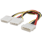 "Manhattan Power Y Cable, 5.25"" Male to dual 5.25"" Female, 4-pin Molex, 20cm, Polybag"