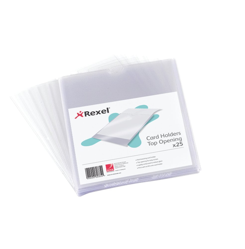 "Rexel Nyrexâ""¢ Card Holders 152x102mm Clear 25"