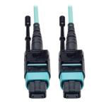 Tripp Lite MTP/MPO Patch Cable, 12 Fiber, 40GbE, 40GBASE-SR4, OM3 Plenum-Rated - Aqua, 5M