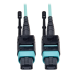 Tripp Lite MTP/MPO Patch Cable, 12 Fiber, 40GbE, 40GBASE-SR4, OM3 Plenum-Rated - Aqua, 5M