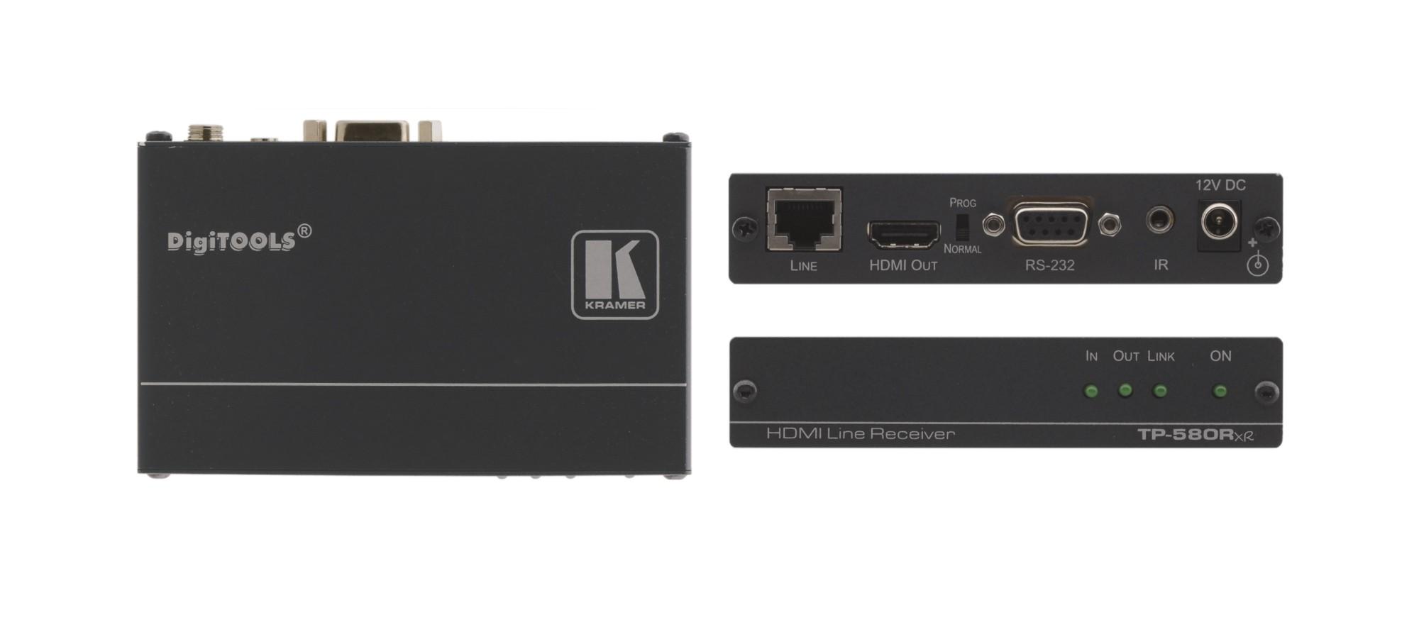 Kramer Electronics TP-580RXR extensor audio/video Receptor AV Negro