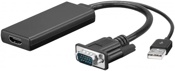GOOBAY 67816 VIDEO CABLE ADAPTER 0.1 M USB A + VGA (D-SUB) HDMI BLACK