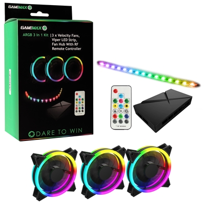GAMEMAX Addressable RGB 3-in-1 Kit with 3 Velocity Fans, 0.3m Viper LED Strip & PWM Fan Hub with RF