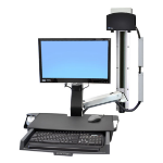 "Ergotron StyleView Sit-Stand Combo System with Worksurface 24"" Aluminium flat panel wall mount"