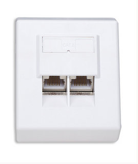 Intellinet Cat6 Surface Mount Box, 2-Port, FTP, White