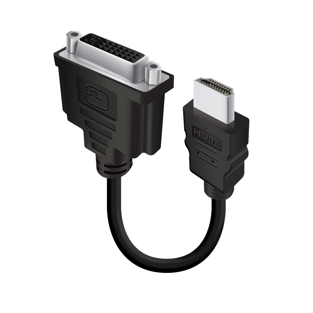 HDMI (M) to DVI-D (F) Adapter Cable - Male to Female - 15cm