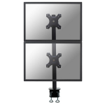 """Newstar Tilt/Turn/Rotate Dual Desk Mount (clamp) for two 10-27"""" Monitor Screens ONE ABOVE OTHER, Height Adjustable - Black"""
