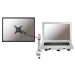 """Newstar Desk Mount (clamp) for Laptop & Monitor (10-27""""), Height Adjustable - Silver"""