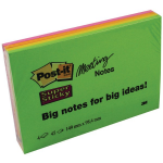 Post-It SuperSticky Meeting Pad 149x98mm Neon 6445-SSP(PK4)