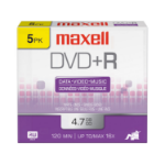 Maxell 639002 4.7GB DVD+R 5pcs Read/Write DVD