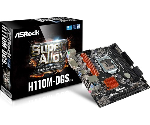 Asrock H110M-DGS R3.0 motherboard LGA 1151 (Socket H4) Micro ATX Intel® H110