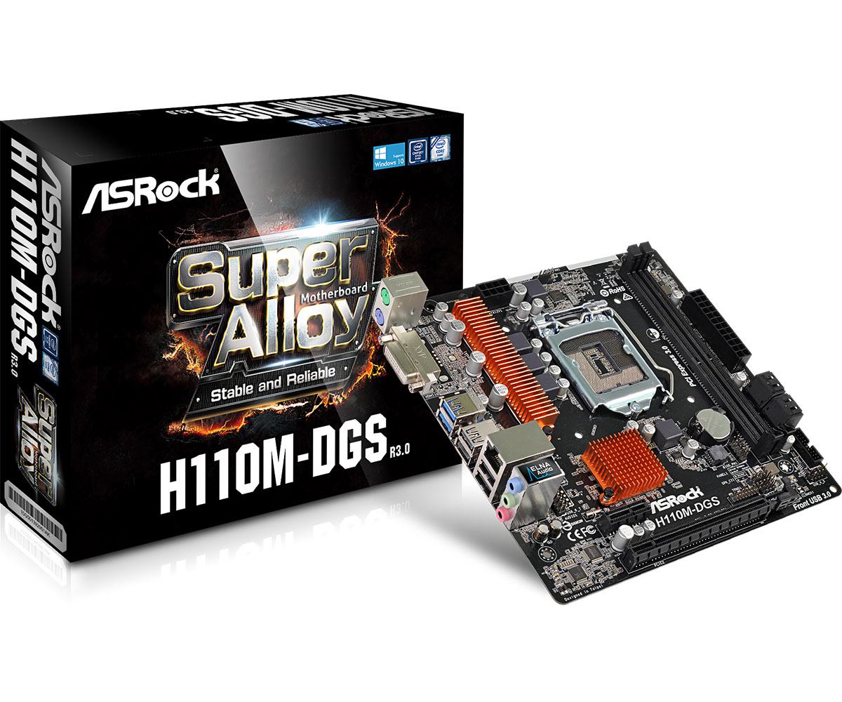 Motherboard H110m-dgs R3.0 LGA 1151 Intel H110 2 X Ddr4 USB 3.1 SATA 3 7.1ch Hd Audio MATX