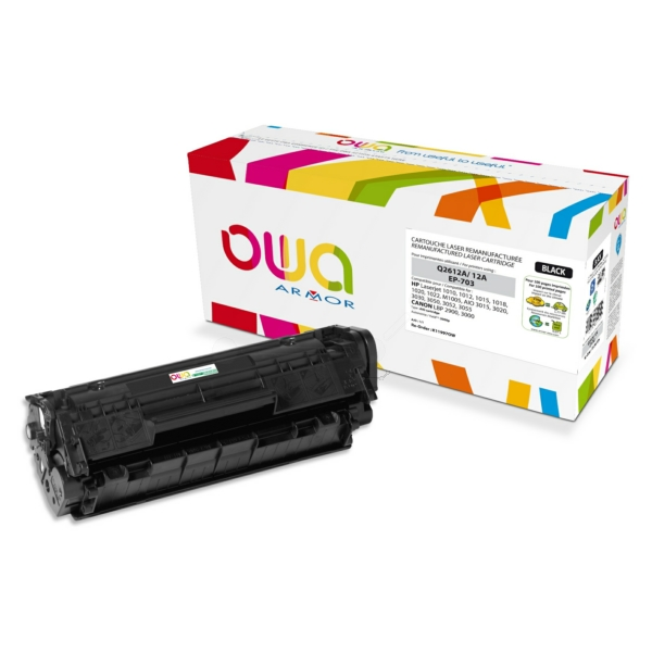 Armor K11997OW (12A) compatible Toner black, 2K pages @ 5% coverage, Pack qty 1 (replaces HP 12A)