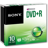 Sony 10 Pack DVD+R Recordable Slim Case - by Sony (10DPR47SS)
