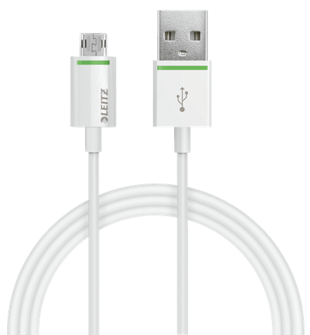LEITZ COMPLETE REVERSIBLE MICRO USB TO USB CABLE. 1M WHITE