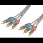 MCL Cordons video YUV RCA hautes qualites translucides gold 3 metres componente ( YPbPr) cable de vídeo 3 m 3 x RCA