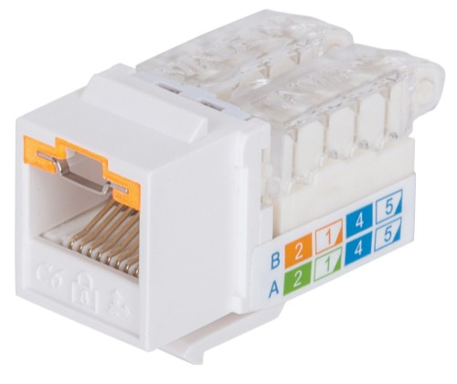 Intellinet Keystone Jack, Cat6, UTP, Toolless, Locking Function, White