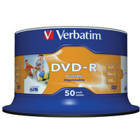 Verbatim DVD-R Wide Inkjet Printable No ID Brand 4.7GB DVD-R 50pc(s)