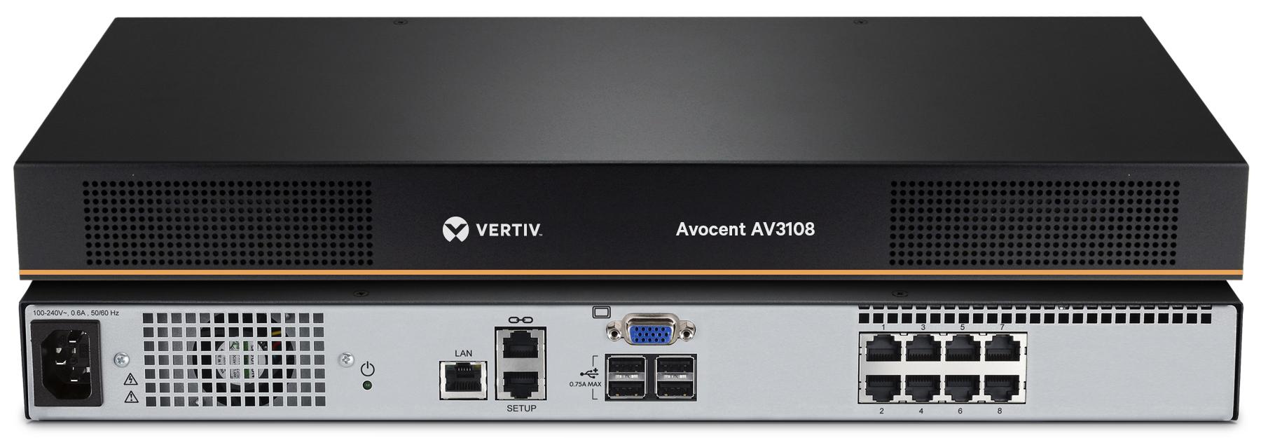 Vertiv Avocent AV 3108 KVM switch Rack mounting Black