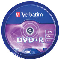 DVD+r Media 4.7GB 16x Matt Silver 100-pk With Spindle